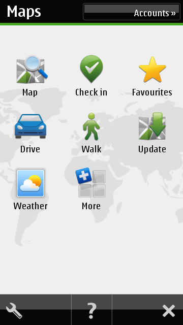 Main Screen of OVI Software on Nokia N8 for GPS Navigation