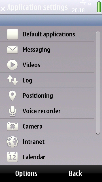 Application Settings of Nokia T7